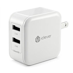 iClever 4.8A 24W Dual Port USB Travel Wall Charger with SmartID Technology