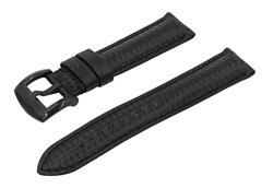 22mm Black Carbon Fiber Grain Padded Italian Calfskin Leather Watch Band With Brushed Black Buckle