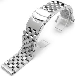 22mm SUPER Engineer Type II Solid Stainless Steel Straight End Watch Band-Push Button