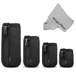 (4 Pack) Altura Photo Thick Protective Neoprene Pouch Set for DSLR Camera Lens