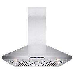 AKDY 36″ Stainless Steel Island Mount LED Touch Control Panel Kitchen Range Hood AZ-B03-IS-90