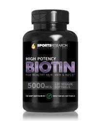 Biotin (High Potency) 5000mcg Per Veggie Softgel; Enhanced with Coconut Oil for better absorption