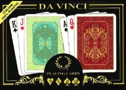 Da Vinci Persiano Italian 100-Percent Plastic Playing Cards (2-Deck Set Poker Size with Hard Shell Case and 2 Cut Cards, Choose Regular or Jumbo Index), Green/Red