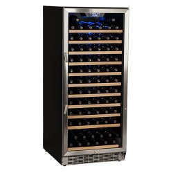 Edgestar 121 Bottle Single Zone Built-in Wine Cooler – Stainless Steel and Black