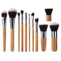 EmaxDesign® 11 Pieces Bamboo Handle Makeup Brush Set Kabuki Powder Foundation blusher Cosmetics Brushes Kit With Bag