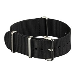INFANTRY Military Black NATO Watch Band Nylon Fabric Strap G10 4 Rings Silver Hardware 20mm Divers Strong #WS-NATO-B-20M