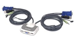 IOGEAR 2-Port MiniView Micro USB PLUS KVM Switch with Audio and Cables GCS632U