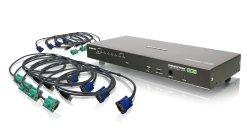 IOGEAR 8-Port USB PS/2 Combo VGA KVMP Switch with USB KVM Cables GCS1808KITU