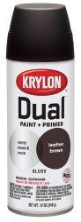 Krylon 8812 'Dual'  Paint and Primer 12-Ounce  Aerosol, Gloss Leather Brown