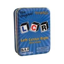 LCR® Left Center RightTM Dice Game – Blue Tin