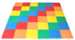 Non-Toxic Rainbow (5 Colors) Interlocking foam Non-Recycled Quality Waterproof Wonder Mats: 36 Pieces at 12″ X 12″ X ~9/16″ Extra Thick