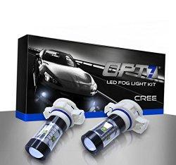 OPT7® 5202 CREE LED DRL Fog Light Bulbs – 5000K Bright White- Plug-n-Play (Pack of 2)