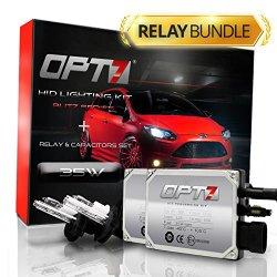OPT7® Blitz HID Xenon Conversion Kit w/ Relay Harness & Capacitors – 2 Year Warranty – 9007 Hi-Lo