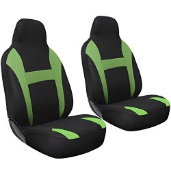 Oxgord 2pc Integrated Flat Cloth Bucket Seat Covers, Universal Fit for Car/Truck/Van/SUV, (Green & Black)