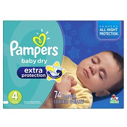 Pampers Baby Dry Extra Protection Diapers Size 4 Super Pack 74 Count (Packaging May Vary)
