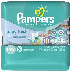 Pampers Baby Fresh Wipes 3x Travel Pack 192 Count