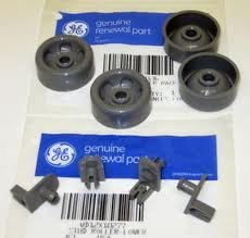 PART # WD12X10277 AND WD12X10136 4PC+4PC GENUINE FACTORY OEM ORIGINAL DISHWASHER RACK ROLLER