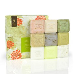 Pre De Provence Assorted Shea Butter Enriched Guest Soap Gift Set in Box – Includes Nine 25 Gram Soaps – Scented Herb