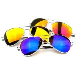 Premium Full Mirrored Aviator Sunglasses w/ Flash Mirror Lens 3-Pack Mix Silver Set