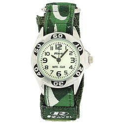 Ravel Nite-Glo Quartz Luminous Dial Army Green Velcro Boys Watch R1704.11