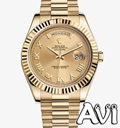 ROLEX DAY-DATE II 2 PRESIDENT YELLOW GOLD WATCH FLUTED 218238 BOX/PAPERS UNWORN 2014