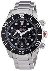 Seiko Men's SSC015P1 Chronograph Solar Power Black Dial Watch