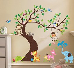 The owl monkey paradise – Lovely blooms zoo nursery children's room decorative wall stickers