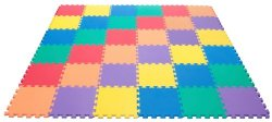 Wonder Mat Non-Toxic Rainbow (6 Colors) foam Wonder Mats: Non-Recycled Quality & Waterproof Extra Thick 36 Pieces 12″ X 12″ X ~9/16″