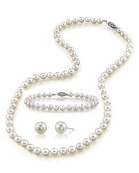 14K Gold White Freshwater Cultured Pearl Necklace, Bracelet & Earrings Set – AAA Quality