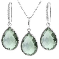 19.50 Ct Green Amethyst 16x12mm Pear Shape Silver Pendant Earrings Set 18″ Chain