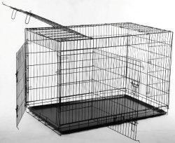 BestPet 3 Door Suitcase Style Folding Metal Dog Crate with Metal Pan 36Lx24Wx26H