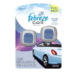 Febreze Car Vents Clips Midnight Storm Air Freshener (2 Count; 2 Ml Each), 0.13 Ounce (Pack of 8)