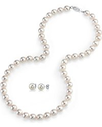 Freshwater Cultured Pearl Necklace & Earrings Set, 18 Inch Princess Length – AAAA Quality