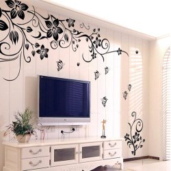 Hee Grand Removable Vinyl Wall Sticker Mural Decal Art – Flowers and Vine (BLACK, 1)