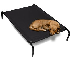 "OxGord® Elevated Pet Bed Cat / Dog Portable Camping Cot ""Travel Gear Approved"" Steel-Framed – 2015 Newly Designed, Black 43.5″ x 29.5″"