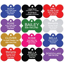 Pet ID Tags – Bone, Round, Heart, Paw, Mouse, and Rectangle. Front and Back Engraving