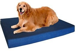 Premium Extra Large Orthopedic Memory Foam Pet Dog Bed with Heavy Duty Waterproof Washable Denim Cover + Free Extra Replacement Case