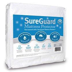 Queen Size SureGuard Mattress Protector – 100% Waterproof – Hypoallergenic – 10 Year Warranty