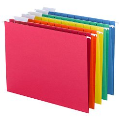 Smead Hanging File Folders, 1/5-Cut Tab, Letter Size, Assorted Primary Colors, 25 Per Box (64059)