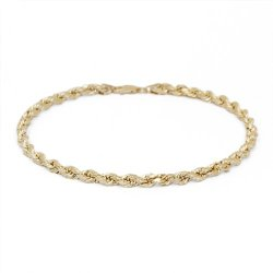 Solid Diamond Cut Rope Chain Bracelet and Anklet for Men & Women Yellow Gold – 10k – 2.25mm (All Sizes)