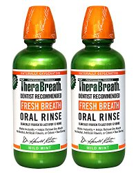 TheraBreath Dentist Recommended Fresh Breath Oral Rinse – Mild Mint Flavor, 16 Ounce (Pack of 2)