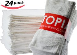 Utopia Towels Washcloths Extra Soft Ring Spun Cotton, Highly Absorbent, 24-Pack, Brilliant White