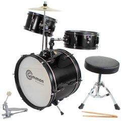 Drum Set Black Complete Junior Kid's Children's Size with Cymbal Stool Sticks