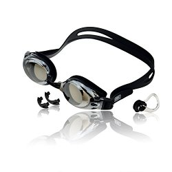 Best Value Mirrored Leakproof Anti-fog UV Protection Prescription Swim Goggles with Free Nose Clip