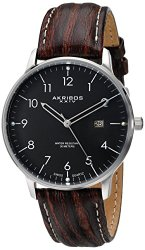 "Akribos XXIV Men's AK715SSB ""Retro"" Stainless Steel Watch with Brown Leather Band"