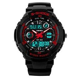 Fanmis Multifunction Dual Time Led Light Analog Digital Waterproof Alarm S – Shock Sport Wristwatch (Red)