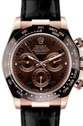 Rolex Daytona Pink Gold Strap Watch, Bronze Arabic Dial