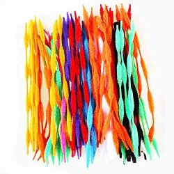Caryko Fuzzy Bump Chenille Stems Pipe Cleaners, Pack of 100 (Mix)
