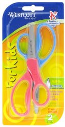 Westcott School Left and Right Handed Kids Scissors, 5-Inch, Pointed, Pack of 2, Assorted Colors (13132)
