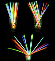 Derker 100 Mixed Colors Glowsticks Glow Stick Bracelets Party Pack,and Connectors kits to create 5 glasses, 5 headbands, 2 flowers, with 1 glow ball